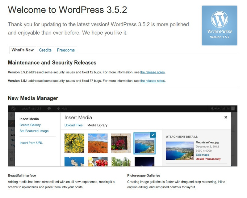 Update without fear to WordPress 3.5.2